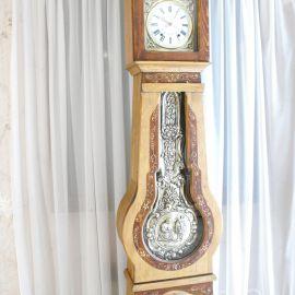 Horloge comtoise sapin peinte fleurs sapin T177